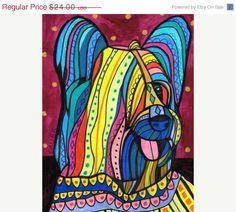 Skye Terrier pop art dog  Modern Pop by HeatherGallerArt Dachshund Art, Pug Art, Framed Art, Framed Prints, Poster Prints, Art Prints, Skye Terrier, Terriers, Dog Pop Art