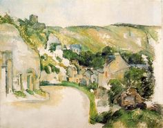 Oil Painting Reproduction,handmade oil painting,oil painting,a-turn-in-the-road-at-la-roche-guyon,Paul Cezanne oil painting La Roche Guyon, Paul Cezanne Paintings, Cezanne Art, Pierre Auguste Renoir, Edouard Manet, Architecture Tattoo, Paul Gauguin, Oil Painting Reproductions, Art Moderne