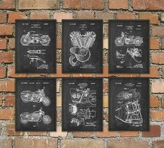 The Ultimate Harley Davidson Motorcycle Patent Wall Art Poster Set of 6 - Harley Davidson Home Decor Gift Idea Giclee Print