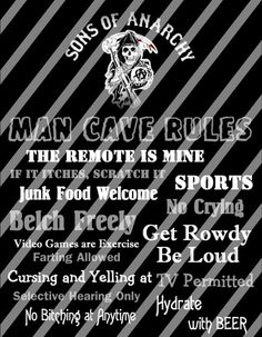 Sons of Anarchy Man Cave Rules Wall Sign Printable Digital File