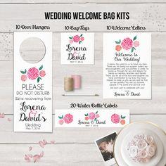 Welcome Bag Kit, Destination Wedding, Welcome Basket Kit, Water Bottle Labels, Wedding Door Hangers, Welcome Bag Tags, Wedding Welcome Cards