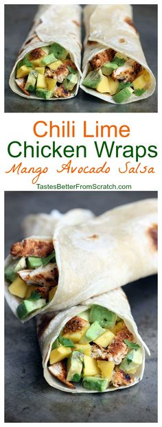 Chili Lime Chicken Wraps with Mango Avocado Salsa on TastesBetterFromScratch.com