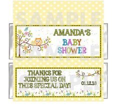 FREE FOILS Personalized Sweet Happi Owl BABY SHOWER candy bar wrappers FAVORS #BabyShower
