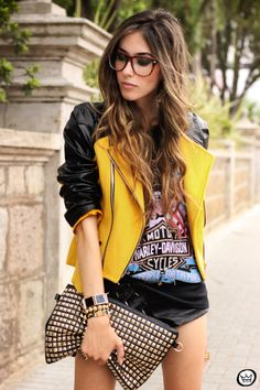 Rocker chic! Pinning mainly for the jacket! Omg love her hair and the outfit
