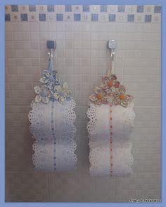 Artesanatos Ana Lu: Porta papel higiênico com Fuxicos
