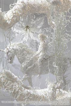 I love sculpture. Sculpture installation by Odani Motohito Contemporary Sculpture, Contemporary Art, Collage Kunst, Vitrine Design, Origami, Instalation Art, Drawn Art, Wow Art, Japanese Artists