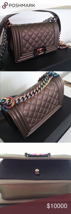 $3210$ Iridescent Chanel Le Boy BNIB Chanel iridescent bronze boy with rainbow hardware. Size is small. This is a very rare bag and it was sold out everywhere. It is unused and some of the protective garments are still on. $3100 invoiced only. Message me at KathleenMRSales@gmail.com to purchase! CHANEL Bags Shoulder Bags