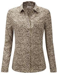 Damart beige printed blouse, ref code B435. www.damart.co.uk