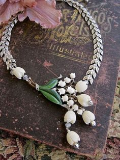 Lily of the Valley Enamel and Celluloid Vintage Assemblage Necklace – Morticia Snow on etsy