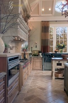 This whole space is just amazing!  Flooring, cabinets, drapes...