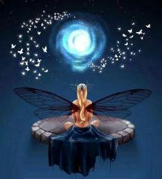 Dragonfly wings Moon Meditator Fairy - Namasté♡ ❤