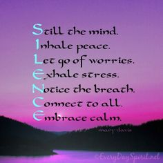 Daily silence is good for the soul ~