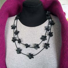 Bike inner tube flower necklace by palepink on Etsy
