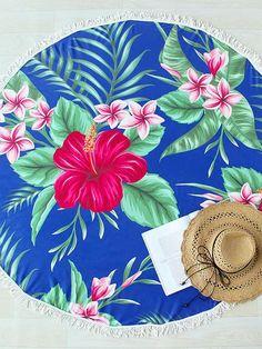 Blue Flower Print Round Beach Blanket
