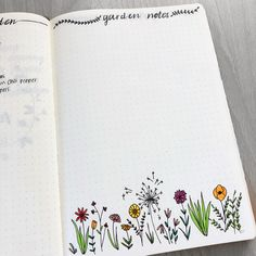 Bullet journal garden notes, flower doodles, flower drawing, plant doodles, plant drawing. | @yogis_bujo