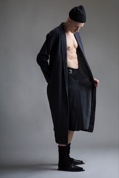 Vintage Norma Kamali Denim Coat and Yohji Yamamoto Men's Pleated Skirt. Designer Clothing Dark Minimal Street Style Fashion
