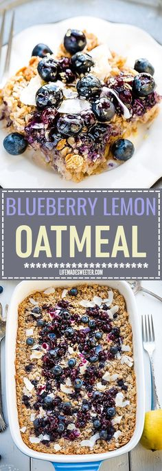 Blueberry Lemon Coconut Baked Oatmeal is easy to assemble and makes the perfect healthy and hearty gluten free breakfast that tastes like dessert. Best of all, it's dairy free and made with NO butter (Gluten Free Breakfast Recipes) Healthy Recipes, Healthy Breakfast Recipes, Brunch Recipes, Dessert Healthy, Healthy Cake, Dinner Recipes, Oatmeal Breakfast Recipes, Dairy Free Recipes Easy, Healthy Meats