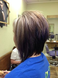 Stacked bob! Warmer colors on the bottom and brighter on top. Love ...