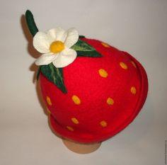 """Купить Банная шапка """"Ягодка"""" - шапка для бани, шапка для сауны, войлочная шапка, ярко-красный"""
