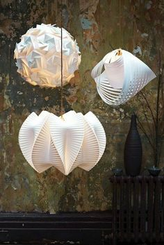 Origami white suspension lamps. For ecelectic interiors and modern spaces. http://www.delightfull.eu/