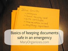 Organizing Important Papers - These are the documents that should be stored in AboutOne. Organizing Important Papers, Organizing Paperwork, Home Office Organization, Paper Organization, Organizing Tips, Tornados, Document Safe, Home Management Binder, Disaster Preparedness