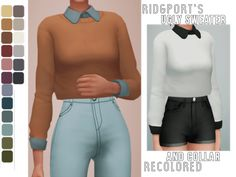 """tranquilitysims: """" Ridgeport's Ugly Sweater + Collar recolored (so u can mix & match)  """"Mesh 