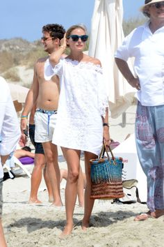 11 unique and stylish bathing suit cover up ideas to try before summer 2016 ends: an off-the-shoulder dress as seen on Olivia Palermo
