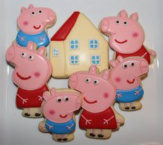 1 Dozen Peppa Pig Hand Decorated Sugar Cookies 12 by DeesCookies