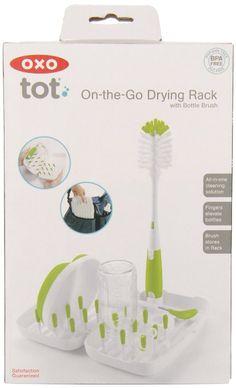 OXO Tot On-the-Go Travel Drying Rack with Bottle Brush- Green