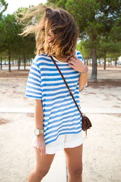 oversized striped tee, white shorts // simple summer style