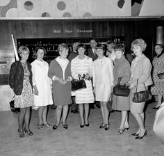 It was the evening before the World Cup Final in 1966 and the wives of some of the England players gathered together at the Royal Garden Hotel in Kensington before they headed out to watch The Black and White Minstrel Show. (l-r) Miss Leslie Newton (fiancee to Alan Ball), Judith Hurst (wife to Geoff Hurst), Kay Stiles (Nobby Stiles), Norma Charlton (Bobby Charlton), Mrs Wilson (Ray Wilson), Carol Paine (Terry Paine) and Ursula Banks (Gordon Banks).