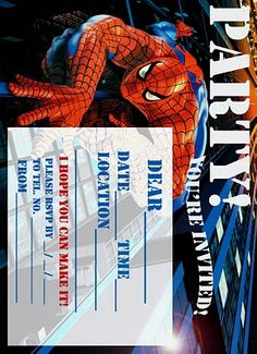 Free spiderman party invite printable