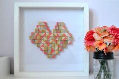geometric heart art, crafts, seasonal holiday decor, valentines day ideas, wall decor