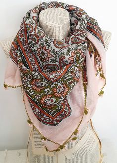 Powder Pink Cotton scarf Turkish Scarves Yemeni OYA by HeraScarf, $30.00