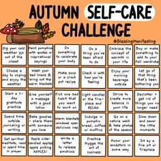 Autumn self-care is a great way to celebrate the season. Make this autumn all about taking care of your needs and taking care of yourself. Fun Fall Activities, Self Care Activities, Herbst Bucket List, Happy Fall Y'all, Self Improvement Tips, Self Care Routine, Bingo, Fall Halloween, Self Help