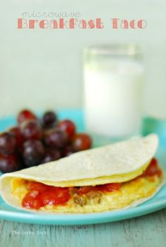 Make a Egg and Sausage Breakfast Taco in the microwave! This easy recipe is perfect for back to school. Make Ahead Breakfast Burritos, Breakfast Tacos, Breakfast Bites, Sausage Breakfast, Best Breakfast, Breakfast Recipes, Vegetarian Breakfast, Microwave Breakfast, Microwave Dishes
