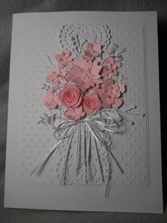 Pink bouquet white foliage with assorted pink flowers lacy background ten pink flowers embossed dimensional bouquet tied with bow Wedding Anniversary Cards, Wedding Cards, Sympathy Cards, Greeting Cards, Pink Bouquet, Rosa Bouquet, Bouquet Flowers, Wedding Bouquet, Birthday Cards For Women