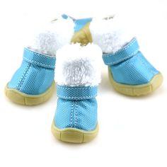 4 pcs pequeno cão sapatos de inverno PU botas de pele de couro Pet Dots Anti - deslizamento botas de neve tamanho XS-XL(China (Mainland))