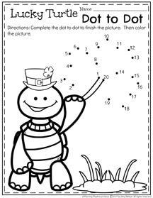 Hojas de trabajo de marzo de preescolar - Lucky tortuga punto a punto