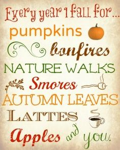 Every year I fall for pumpkins, bonfires, nature walks, s'mores, autumn leaves… Thrifty Decor Chick, Thing 1, Happy Fall Y'all, Happy Thanksgiving, Thanksgiving Signs, Happy Monday, Subway Art, Fall Harvest, Autumn Inspiration