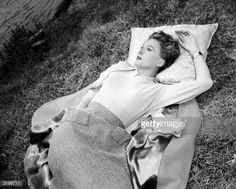 Photo d'actualité : Film star, Deborah Kerr relaxing on the grass.