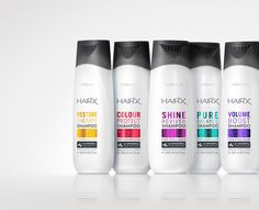 Oriflame, HairX . Packaging created by ButterflyCannon, boutique brand design agency. #packaging #butterflycannon #haircare