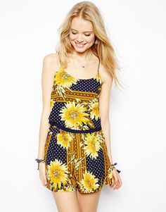 ASOS Double layer Cropped Cami in Patchwork Sunflower Print