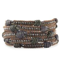 Gunmetal Nugget Wrap Bracelet on Knotted Two Tone Leather
