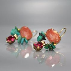 Colorful butterfly earrings set with a gorgeous rose quartz, hand woven aquamarine and a coral drop.This unique butterfly earrings design is timeless, so you can enjoy it for years and years to come. The hook is made of gold filled. Ruby Jewelry, Ruby Earrings, Gemstone Earrings, Bijoux Peridot, Custom Jewelry, Handmade Jewelry, Cubic Zirconia Earrings, Gemstone Engagement Rings, Butterfly Earrings