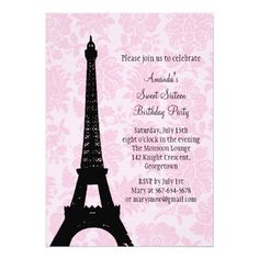 Birthday In Paris Sweet Sixteen Invitation