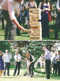 lawn games at the wedding. loving the giant jenga! || A British-Finnish farm wedding on Best Day Ever