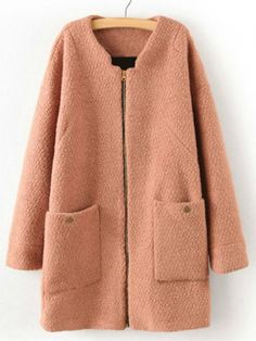 Popular Zipper Long Sleeve Woolen Fabric Women's Coat