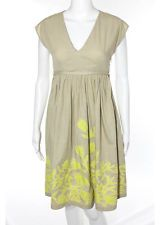 HOSS INTROPIA Camel Beige Yellow Cotton Floral Embroidered Pleated Dress Sz 34