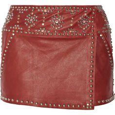 Isabel Marant Casey embellished leather mini skirt ($610) ❤ liked on Polyvore featuring skirts, mini skirts, leather, red, studded mini skirt, leather miniskirt, stretch skirts, leather mini skirt and red leather skirt